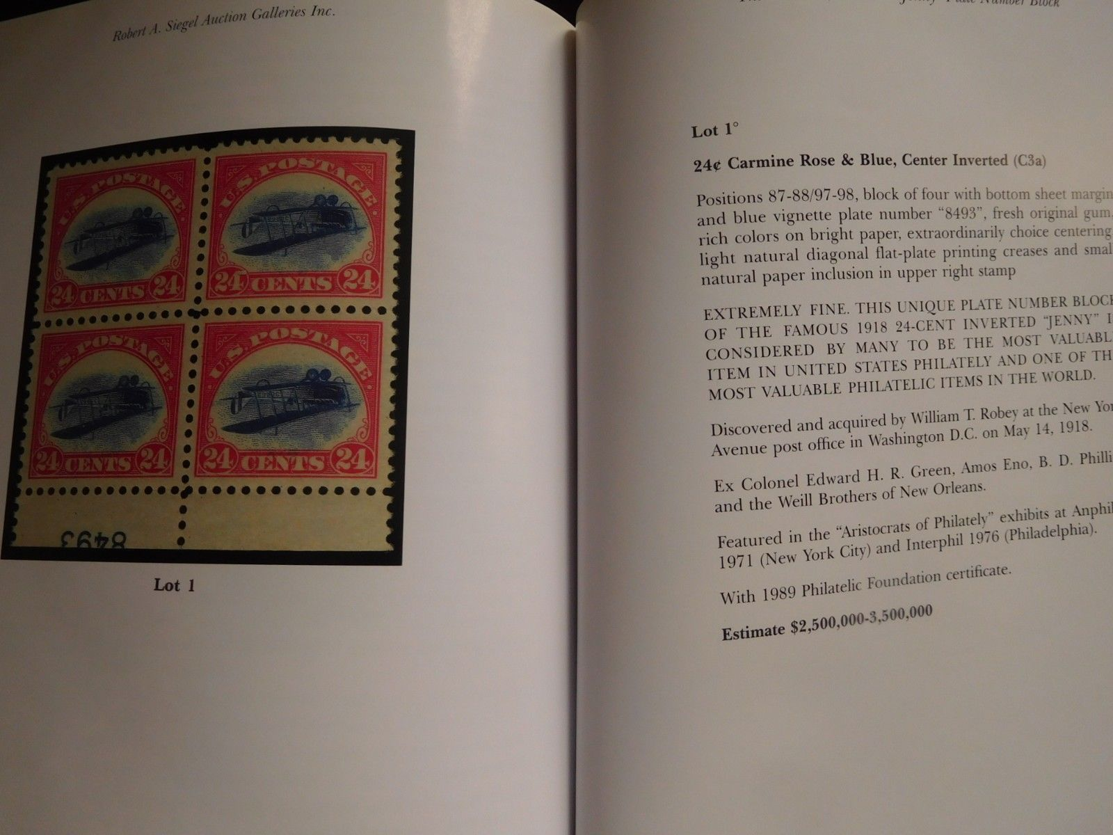 Robert Siegel 2005 Inverted Jenny Plate Number Block Auction Catalog