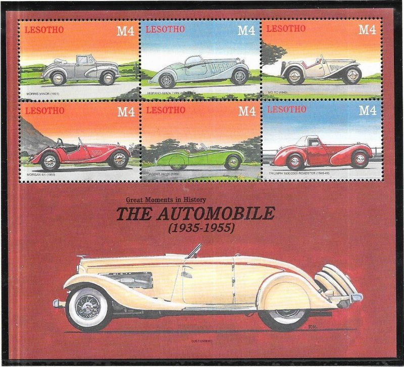 Lesotho #1252  4M  The Automobile sheet of 6 (MNH) CV $7.50