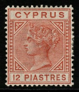CYPRUS SG22 1886 12pi ORANGE-BROWN MTD MINT