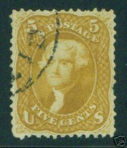 USA Scott 67, Beautiful Buff Variety 1861 CV $1050