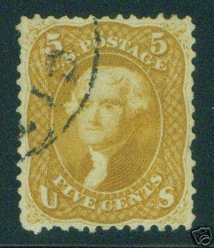 USA Scott 67, Beautiful Buff Variety 1861 CV $1050