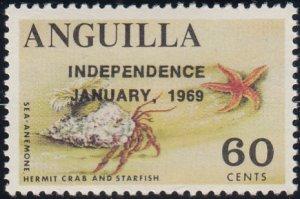 Anguilla 1969 MNH Sc #64 Overprint on 60c Sea anemone, Crab, Starfish Variety