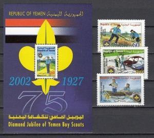 Yemen Arab Rep., Scott cat. 756-758, 759. Scouting Jubilee set & s/sheet.