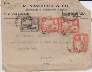 K.U.T.  1942  Mombasa  Cover To India Censored  2 Scans  62125
