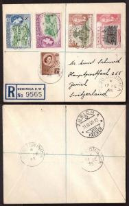 Dominica, 1955 multifranked registered cover to Switzerland       -BH01