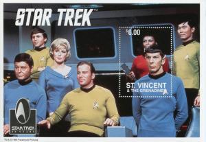 St Vincent & Grenadines 1996 MNH Star Trek 30 Yrs 1v S/S Spock Nimoy Kirk Stamps