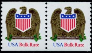 2604 USA Bulk Rate Eagle and Shield F-VF MNH coil pair