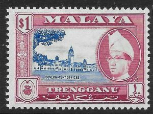 MALAYA TRENGGANU SG97 1957 $1 ULTRAMARINE & REDDISH PURPLE MNH
