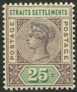 STRAITS SETTLEMENTS-1892-99 25c Purple-Brown & Green Sg 103 LMM V49409