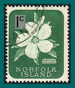 Norfolk Island 1966 Surcharge, 1c thin, used  #71,SG60
