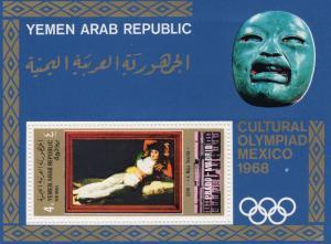 Yemen Arab Republic 1969 GOYA paintings Olympic Mexico s/s Perforated Mint (NH)