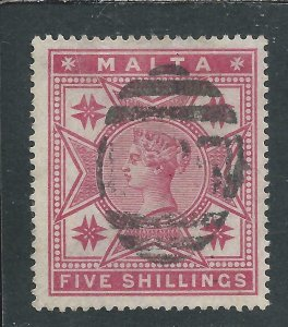 MALTA 1886 5s ROSE FU SG 30 CAT £80