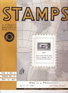 Stamps Weekly Magazine of Philately January 27, 1934 Stamp Collecting Magazine