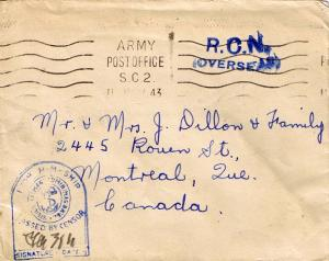 Canada Soldier's Free Mail 1943 Army Post Office S.C.2. Canadian Overseas Pos...