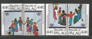 PALAU 86-89 MNH, IYY EMBLEM AND CHILDREN OF ALL NATIONALITIES IN A CIRCLE
