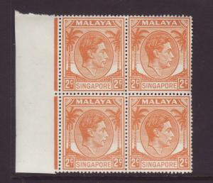 1949 Singapore 2c Perf 17½ x 18 Block of 4 U/Mint SG17