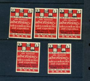5 VINTAGE 1934 DIRECT MAIL ADVERTISING EXPO POSTER STAMPS (L875) BOSTON MASS.
