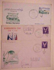 HAWAII DPO CACHETED 3 DIFF. KOHALA x2, PUHI 2 ARE CENSORED 1943