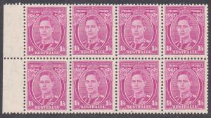 AUSTRALIA GVI 1/4d SG755 block of 8 MNH......................................755