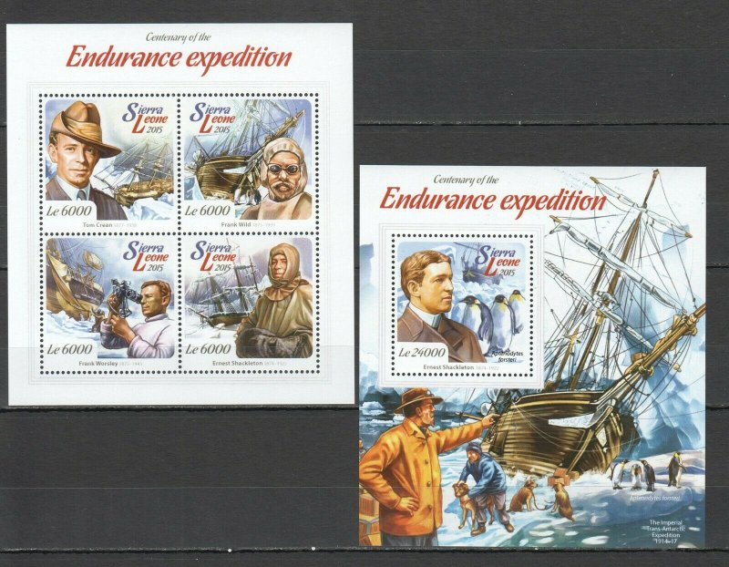 ST522 2015 SIERRA LEONE TRANSPORT SHIPS ENDURANCE EXPEDITION KB+BL MNH STAMPS