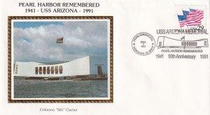 1991, 50th Anniv. Pearl Harbor Remembered Cover, Colorano Silk (E12294)
