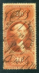 R98d - $20- Conveyance - Silk Paper - Orange - perf - used - ms cancel