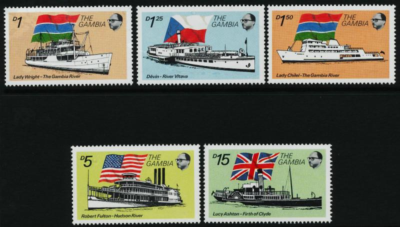 Gambia 1256-9, 62 MNH Riverboat, Flag