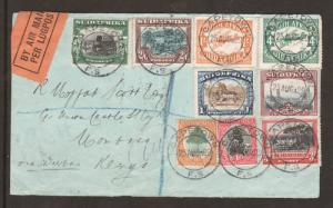 South Africa SG 34/41 on 1929 Registered Cover to Kenya