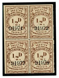 SS3323 Preston & Wyre Railway Halfpenny Newspaper Stamp/Unused Block of 4