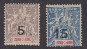 Indo-China #  22-23, Surcharged Stamps, Hinged, 1/2 Cat.