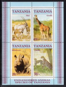 Tanzania MNH S/S 322a Endangered Animals 1986