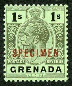 GRENADA SG98ds 1913-22 Wmk MCA 1s black/emerald back opt SPECIMEN