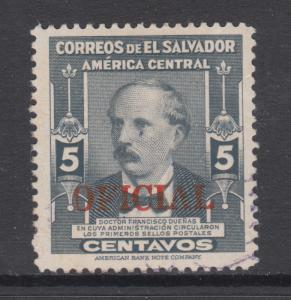 Salvador Sc O364 used 1948 5c Duenas w/ red OFFICIAL overprint, F-VF
