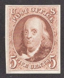 US Stamp #3 5c Red Brown Franklin  MINT NGAI SCV $900