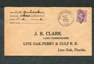 Postal History - Chubusco IN 1918 Black Duplex Cancel Return Cover B0484