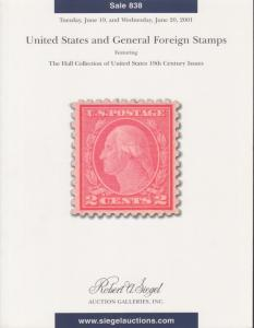 Hall Collection of US 19th Century Issues & General Foreign, Siegel Auction 838