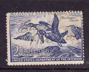 USA-Sc#RW19-used$2 Migratory Bird hunting Stamp-Ducks-1952-