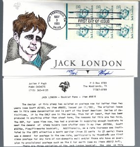 Haunting Pugh Designed/Painted Jack London Booklet FDC...Only 194 Created!