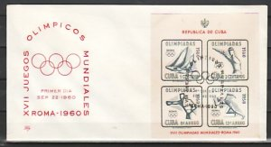 Cuba, Scott cat. C213a. Olympic Games s/sheet. First day cover. ^