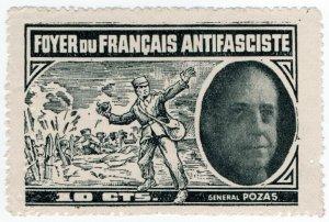 (I.B) Spain Civil War Cinderella : French Anti-Fascist Fund 10c (General Pozas)