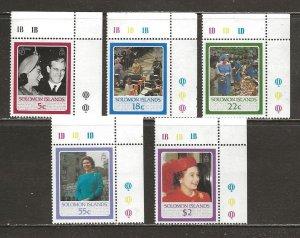 Solomon Islands Scott catalog #562-566 Mint NH See Desc