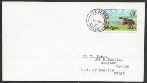 ANTIGUA 1981 cover 50c Cannon, St John's to USA............................56642