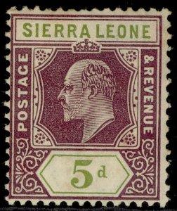 SIERRA LEONE EDVII SG106, 5d purple & olive-green, M MINT. Cat £26.