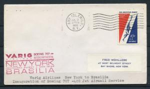 UNITED STATES VARIG AIRLINES INAUGURAL FLIGHT NY TO BRASILIA COVER 7/2/60