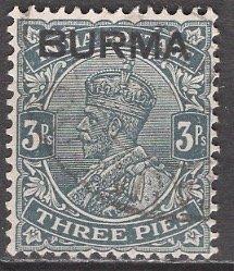 Burma; 1937: Sc. # 1: O/Used Single Stamp
