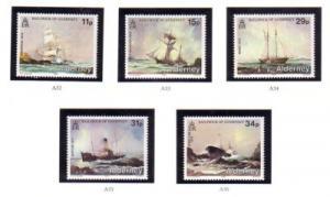 Alderney Sc 32-36 1987 Shipwrecks stamps mint NH