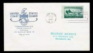 U.S. COAST GUARD FIRST DAY COVER SCOTT #936 FDC FARNAM CACHET 1945