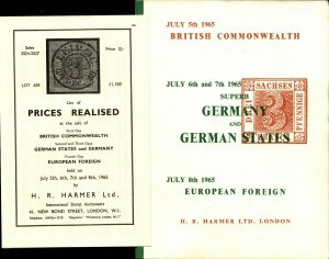 H R Harmer London 1965 Stamp Auction Catalog Germany & States w Prices Realized