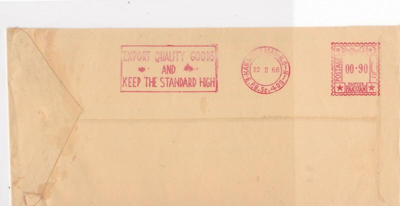 Pakistan 1966 Pakistan State Service Airmail Meter Mail Stamps Cover Ref 29356