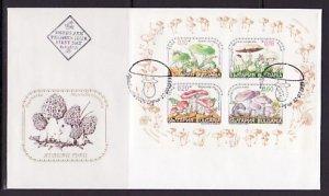 Bulgaria, Scott cat. 4085 a-d. Mushrooms s/sheet. First day cover. ^